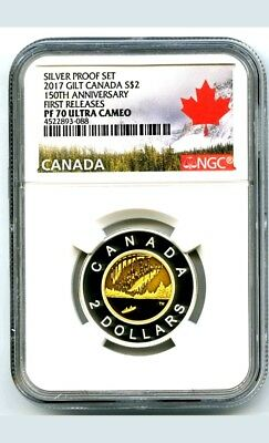 2017 Canada 150Th Anniversary Toonie Ngc Pf70 Ucam Gilt Silver Proof Top Pop=15