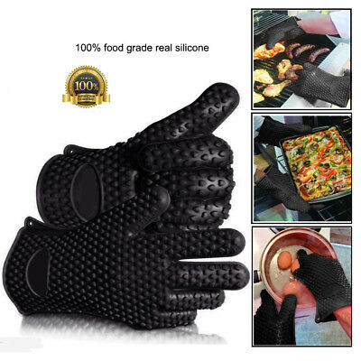 Pair Kitchen Oven Gloves Heat Resistant Silicone Holder Baking BBQ Cook Mitts UK