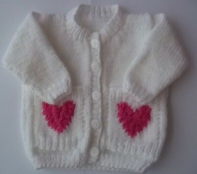 Hand Knit Babies White Heart Pocket Cardigan Size 0/3 Months