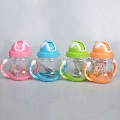 320ML Baby Feeding Bottle Sippy Straw Children Drinking Cup  Bottle With Handle