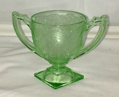 "Indiana HORSESHOE/No 612 GREEN *4"" FOOTED OPEN SUGAR*"