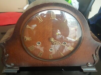 Smiths Mahogany Antique mantel clock westminster Chime 8 Day