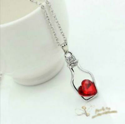 Red Heart necklace Style heart Drift bottle Accessories pendant 458