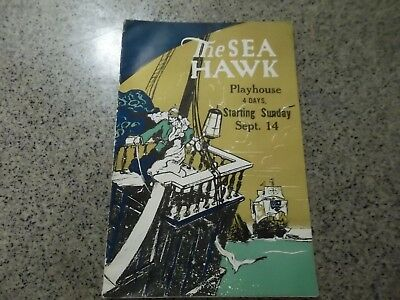 1940s booklet THE SEA HAWK, playing at PLAYHOUSE, HUDSON, NY, ca 1940-42, 16 pgs