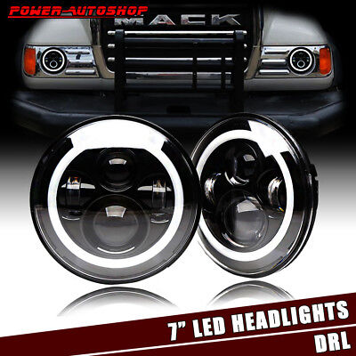 DOT 7'' Inch Halo Ring CREE LED Headlights Hi/Lo Beam For Mack R Series Replace