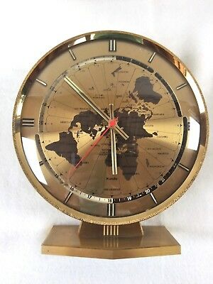 Kundo ele - Quarz Weltzeituhr Tischuhr  World Timer Table Clock Messing H. 25 cm