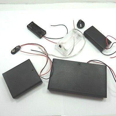 AAA AA PP3 9V Coin Battery Holder Wire Open with Switch Closed Case Box 1-8 Slot