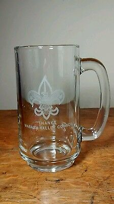 Vintage Boy Scouts BSA Wabash Valley Council Indiana Tall Glass Mug Cup
