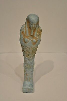 Rare Ancient Egyptian Blue Ushabti Statue With Hieroglyphs