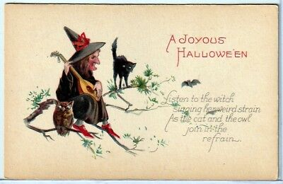 Halloween Vintage Pc~Black Witch In Tree With Owl And Cat