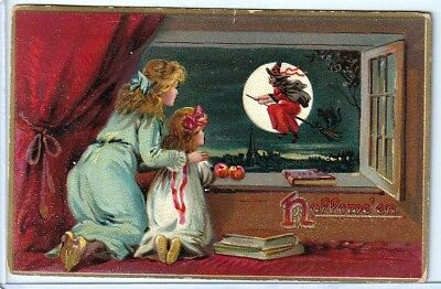 Halloween Vintage Pc~1908 Tucks Mother And Daughter See Witch