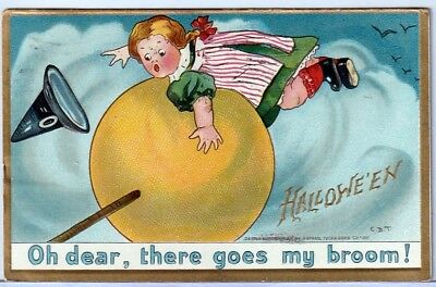 Halloween Vintage Pc~1911 Tucks Signed Cbt Little Flying Girl Witch