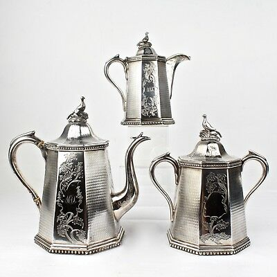 19th Century New York Wood & Hughes American Coin Silver Tea Set - SL