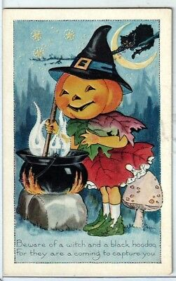Halloween Vintage Pc~Early View~Whitney Fantasy Jol Witch With Cauldron