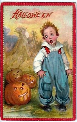 Halloween Vintage Pc~Tucks~Boy Scared By Jol In Field