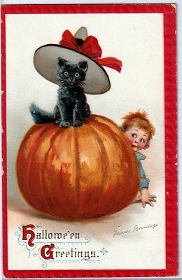 Halloween Vintage Pc~Early View~Signed Brundage Black Cat On Jol