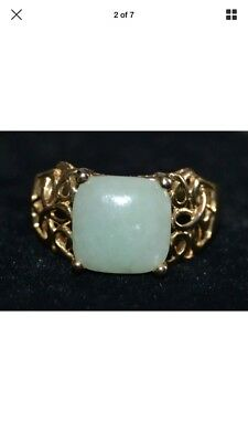 1920s Chinese 14K Gold and Jade Ring