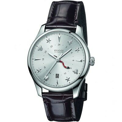 a06e9e07db8 GUCCI G-Timeless Silver Dial Automatic GMT Men s Leather Watch Item No.  YA126332