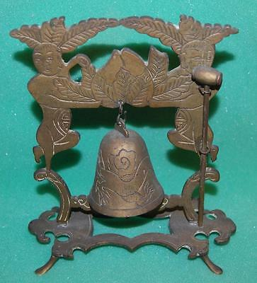 vintage brass chinese temple bell & mallet buddhist pagoda hanging bell & gong