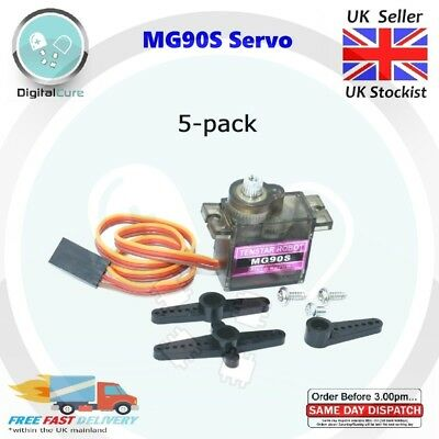 5x MG90S Metal Gear Geared Micro Tower Pro Servo For Plane Helicopter Robot RC
