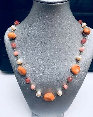 """Amazing Hand-made Vintage Estate Necklace All-Natural Pearl & Gemstones 18.5"""""""