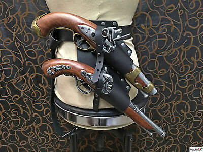 Pirate leather belt double holster for flintlock pistol. Pirate, LARP, cosplay!