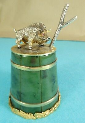 Russian Sterling Silver Jade Novelty Mustard Pot Wild Boar Ruby Khlebnikov 1900