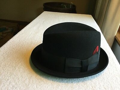 Vintage Knox New York Fedora Premier Quality Black Fur Felt Hat  Box. Size  7- f687c2974f6f