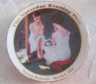 "Norman Rockwell ""Girl in the Mirror"" Collector Plate - 3-1/2"""