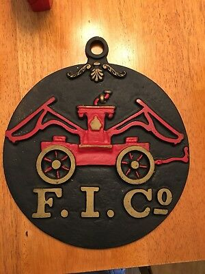 Reproduction Vintage Cast Iron F.I. CO Fire Insurance House Plaque Sign