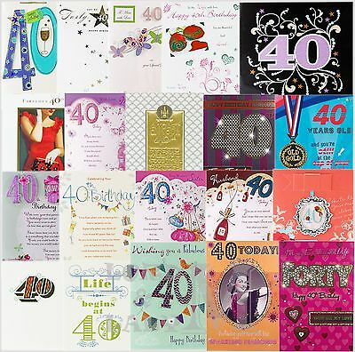 40th Birthday Card General Open Husband Wife Etc