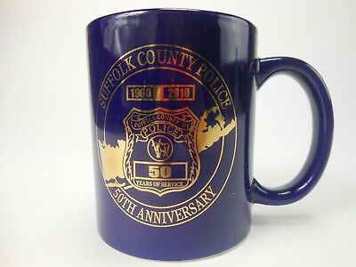 Suffolk County Police Coffee Cup 50th Anniversary 1960-2010 Cobalt Blue Gold Plt