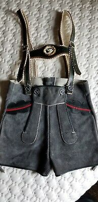 Collectible Childs Gray German Bavarian Leather Lederhosen with Suspenders
