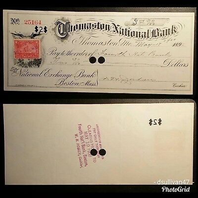 Thomaston National Bank Check, Maine 1900 (1898 U.S. Revenue stamp)