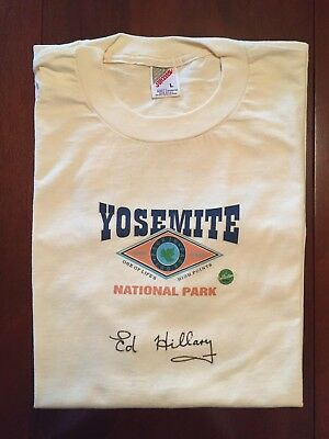 Sir Edmund Hillary - Signed Yosemite T Shirt