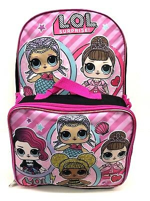 """L.O.L 16"""" School Backpack With Lunch Box Combo Set"""