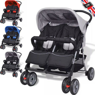 Twin Folding Tandem Stroller Double Pushchair Baby Kid Toddler Pram Buggy Steel