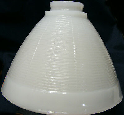 vintage white MILK GLASS torchiere Floor Lamp SHADE tight zig-zag Pattern waffle