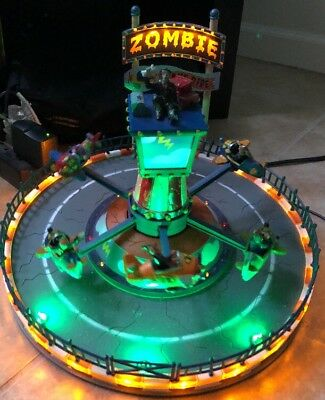 Lemax Spooky Town Zombie Plane Ride Halloween Carousel W Lights & Sounds Nice!!!