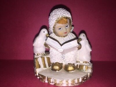 K'S COLLECTION Angel Snow Baby & Penquins Reading Christmas Figurine