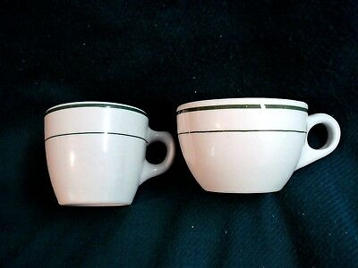 2 Vintage BUFFALO CHINA Cups Restaurant Ware/Diner Green & White Very Good Cond.