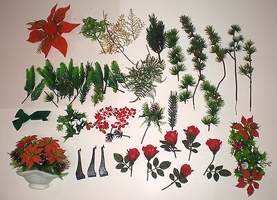 Lot of 30+ VTG 60s Plastic Xmas Floral Design Pieces Poinsettia Greens Roses