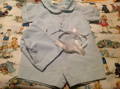 VINTAGE Alexis Boys Baby Blue Outfit With Hat Size 3 Months