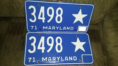 Maryland 1971-75 Vintage Motor Vehicle Tags License Plates #3498 Rare With Star
