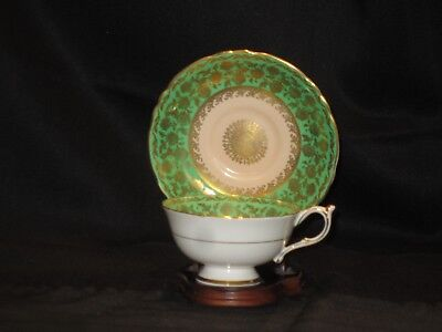 Fancy Emerald Green Paragon Heavy Gold Overlay Medallion Vintage Cup and Saucer