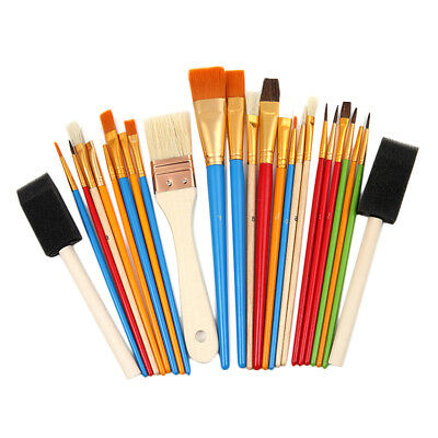 25X Artist Paint Brush Set Foam Hair Brush Acrylic Oil Watercolour Painting