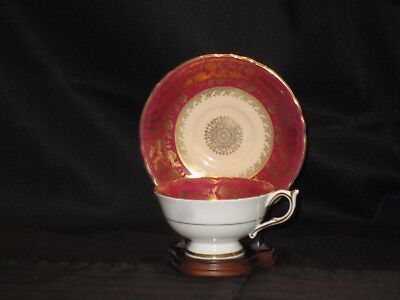 Paragon Vintage Cup and Saucer Fine Bone China Red with Gold Trim