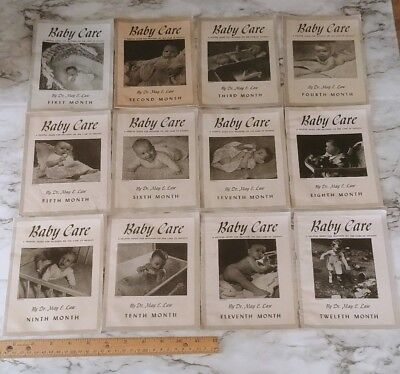 Vintage 1930s 1940s BABY CARE First to Twelfth Month Pamphlet Manuals, Complete