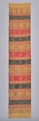 Rare Antique Lao Laos Ceremonial Silk Shawl Textile Embroidery Runner