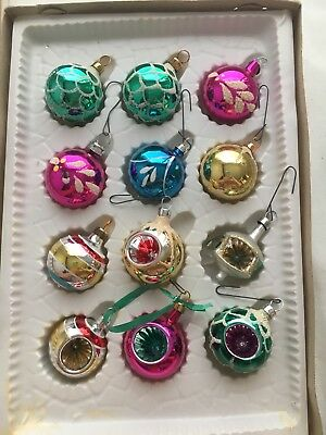 Vintage Glass Christmas Ornaments Miniature Small Lot Of 12 Flocked Indents